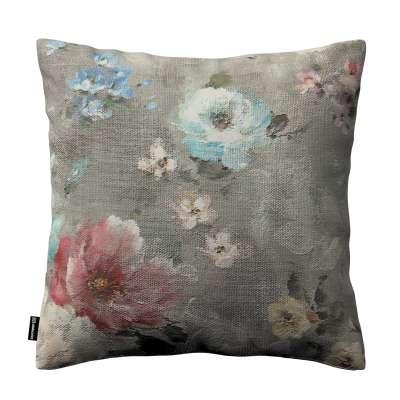 Poszewka Kinga na poduszkę 137-81 niebieskie i różowe kwiaty na szarym tle Kolekcja Flowers