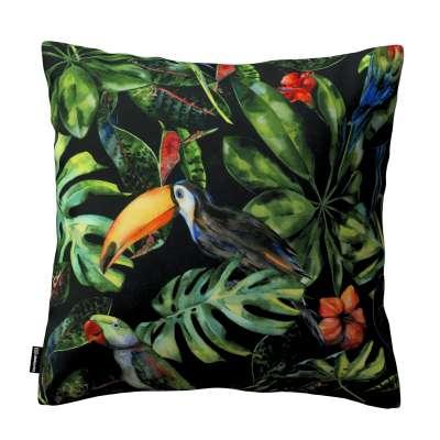 Kinga dekoratyvinės pagalvėlės užvalkalas 704-28 papūgos ir tukanai juodame fone Kolekcija Velvetas/Aksomas