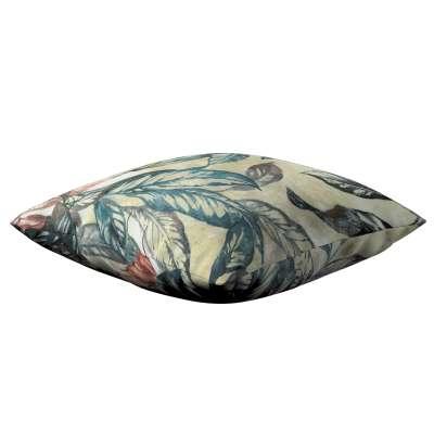 Poszewka Kinga na poduszkę 143-08 liście w odcieniach zieleni, niebieskiego, czerwieni na beżowym tle Kolekcja Abigail