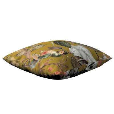 Kinga - potah na polštář jednoduchý 143-09 květy na hořčicovém podkladu Kolekce Abigail