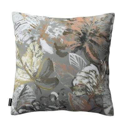 Kinga dekoratyvinės pagalvėlės užvalkalas 143-19 rudos, smėlio spalvos, abrikosų žiedai pilkame fone Kolekcija Abigail