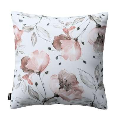 Kinga - potah na polštář jednoduchý 704-50 růžové květy na světle-krémovém podkladu Kolekce Velvet