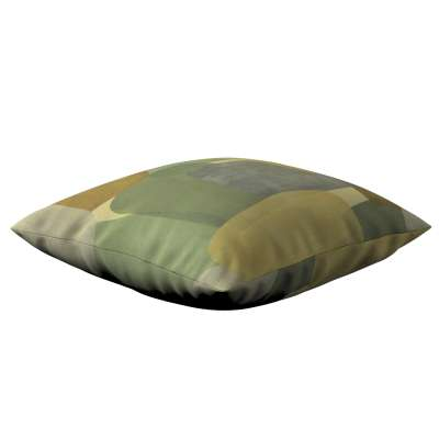 Poszewka Kinga na poduszkę 143-72 geometryczne wzory w zielono-brązowej kolorystyce Kolekcja Vintage 70's