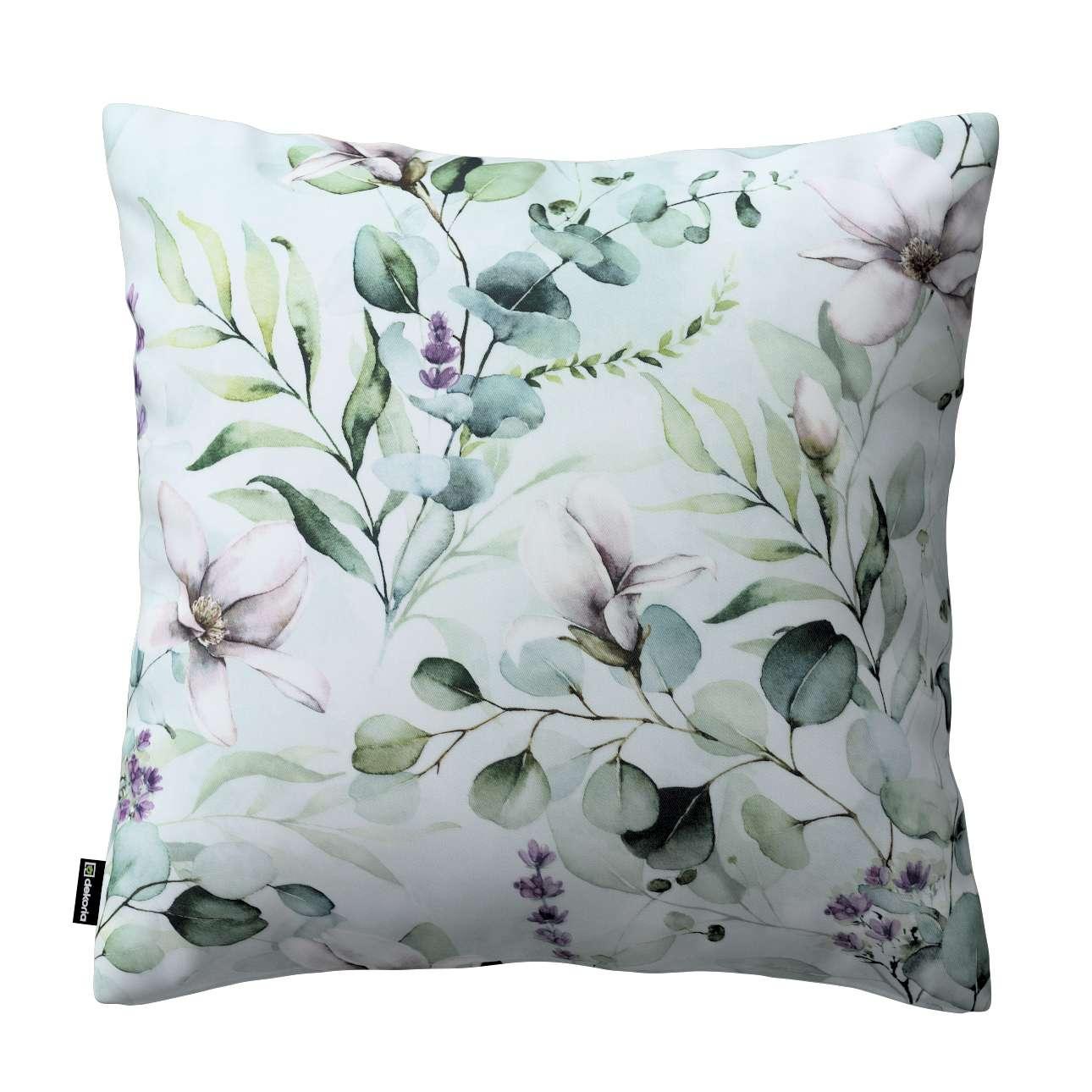 Dekoria Kinga - potah na polštář jednoduchý, magnólie na mátovém pozadí, 60 × 60 cm, Flowers, 143-66