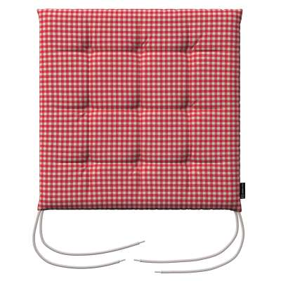 Charles seat pad with ties 136-15 red and white check (0.5cm x 0.5cm) Collection Quadro