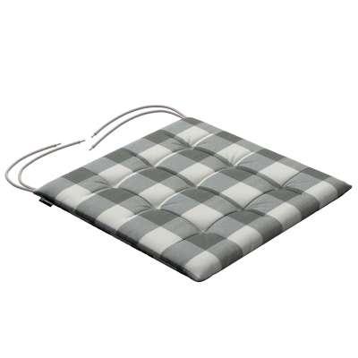 Kėdės pagalvėlė Karol 136-13 Pilki ir šviesūs kvadratai (5,5x5,5cm), audinys turi natūralų švelnų pasibangavimą  Kolekcija Quadro