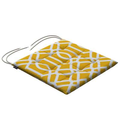 Charles seat pad with ties 135-09 white pattern on yellow/mustard background Collection Comics/Geometrical