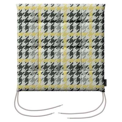 Charles seat pad with ties 137-79 yellow and black houndstooth Collection SALE