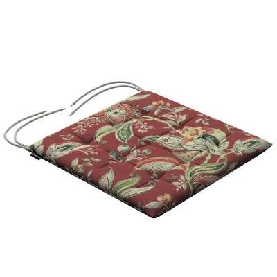 Siedzisko Karol na krzesło 142-12 wzory roślinne i kwiatowe na czerwono-ceglanym tle Kolekcja Gardenia