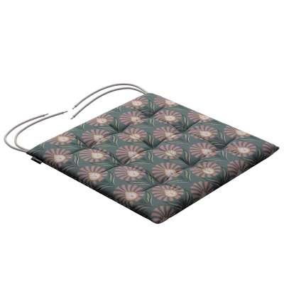 Siedzisko Karol na krzesło 142-17 różowe wzory kwiatowe na szarym tle  Kolekcja Gardenia