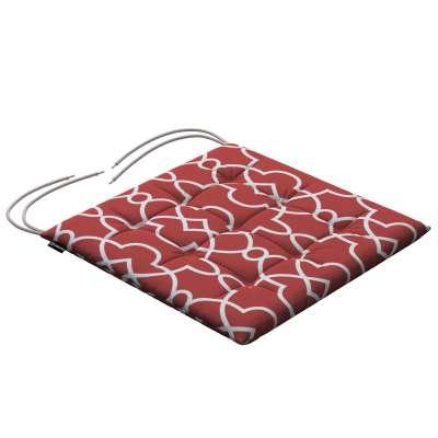 Siedzisko Karol na krzesło 142-21 czerwony w biały marokański wzór Kolekcja Gardenia