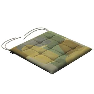 Siedzisko Karol na krzesło 143-72 geometryczne wzory w zielono-brązowej kolorystyce Kolekcja Vintage 70's