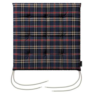 Charles seat pad with ties 142-68 dark blue and red check Collection Christmas