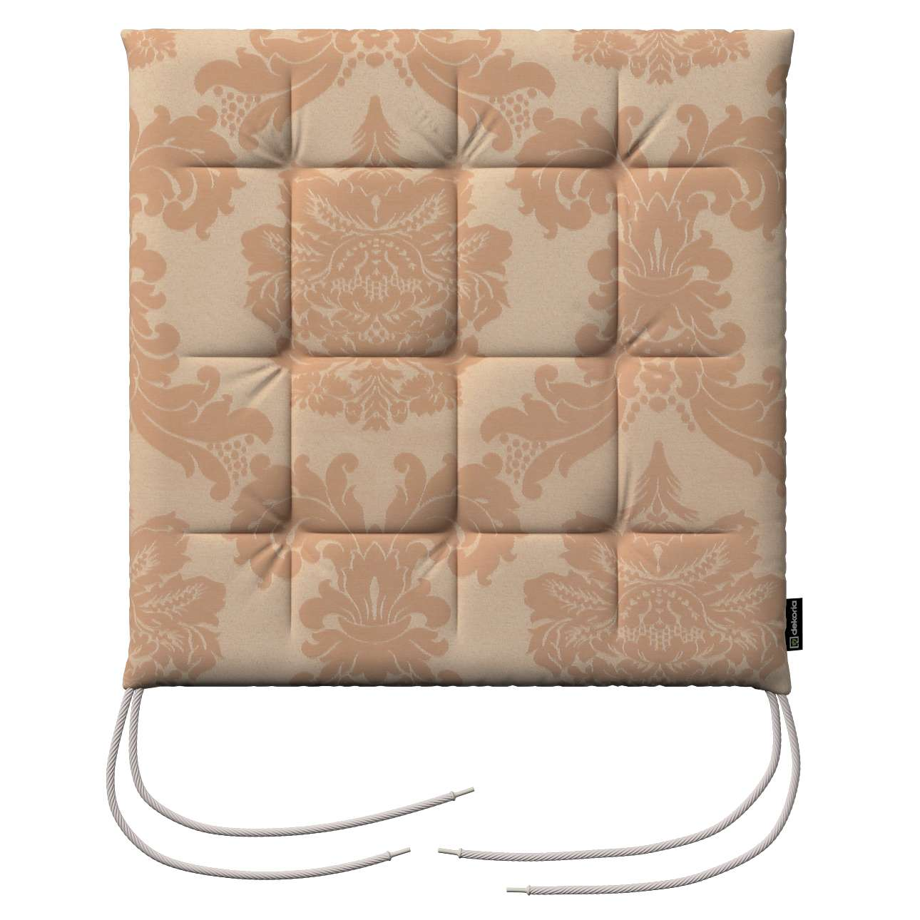 Karol seat pad with ties 40 x 40 x 3,5 cm (16 x 16 x1,5 inch) in collection Damasco, fabric: 613-04