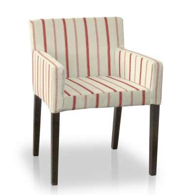 Sukienka na krzesło Nils 129-15 ecru tło, czerwone paski Kolekcja Avinon