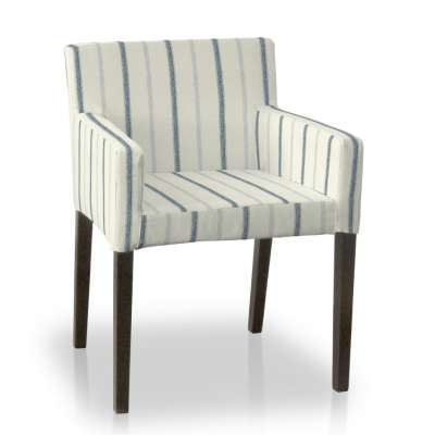 Nils chair cover 129-66 blue stripes, ivory background Collection Avinon