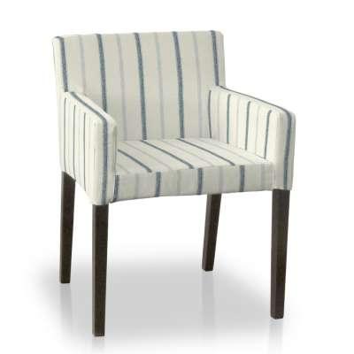 Sukienka na krzesło Nils 129-66 ecru tło, niebieskie paski Kolekcja Avinon