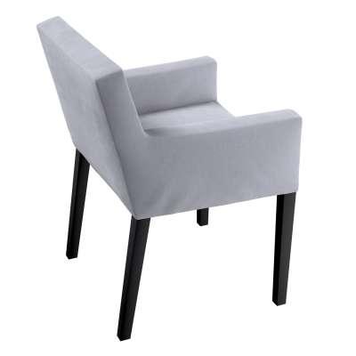 Návlek na stoličku s opierkami Nils 704-24 strieborno - sivá Kolekcia Velvet