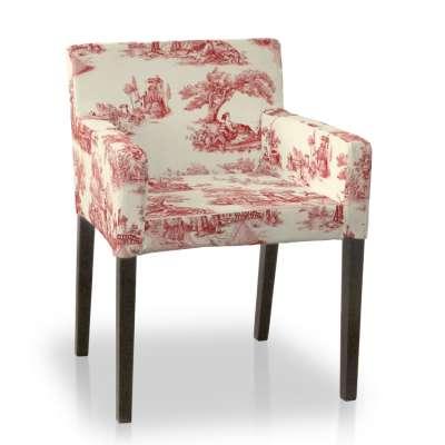 Návlek na stoličku s opierkami Nils 132-15 decentný bordový vzor na svetlobéžovom podklade Kolekcia Avinon