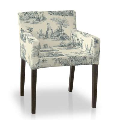 Nils chair cover 132-66 blue characters, ivory background Collection Avinon