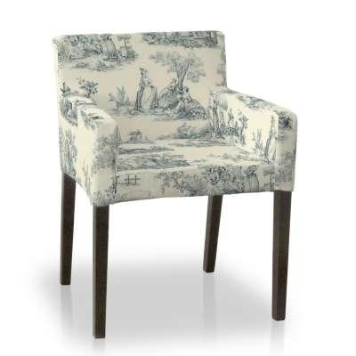 Návlek na stoličku s opierkami Nils 132-66 decentný modrý vzor na svetlobéžovom podklade Kolekcia Avinon