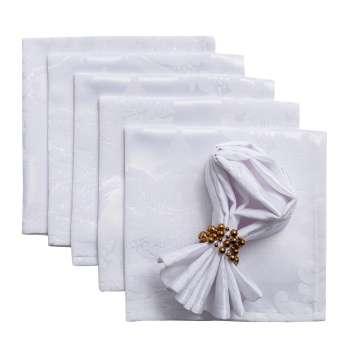 komplet 6 szt. serwetek 42x42cm damasco białe