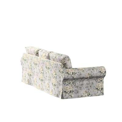 Pokrowiec na sofę Ektorp 3-osobową, rozkładaną 143-36 oliwkowo-beżowe kwiaty na szarym tle Kolekcja Londres