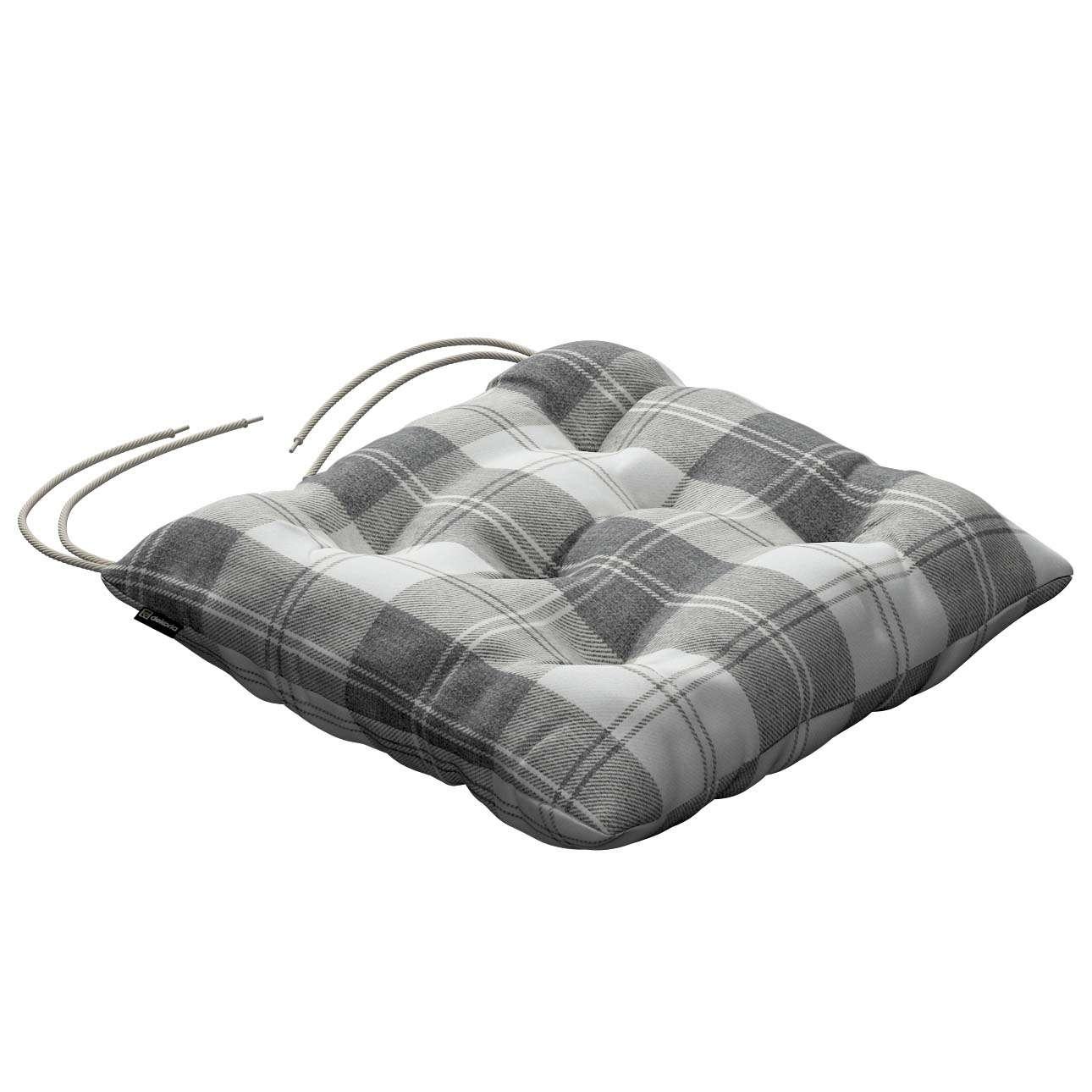 stuhlkissen thomas mit bindeschnur wei grau dekoria. Black Bedroom Furniture Sets. Home Design Ideas