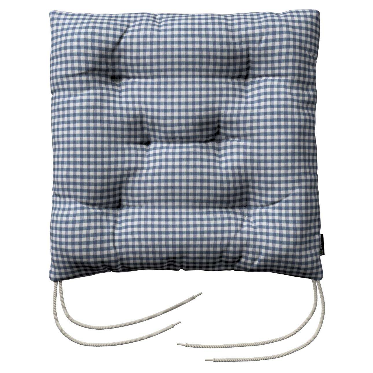 Jacek seat pad with ties 40 x 40 x 8 cm (16 x 16 x 3 inch) in collection Quadro, fabric: 136-00
