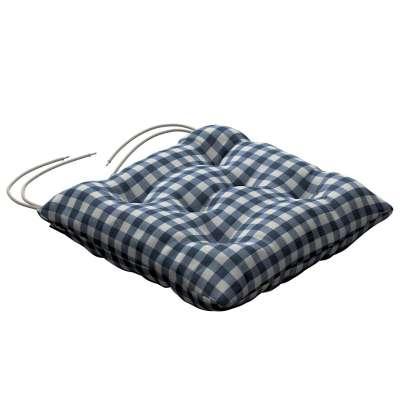 Siedzisko Jacek na krzesło 136-01 granatowo biała kratka (1,5x1,5cm) Kolekcja Quadro