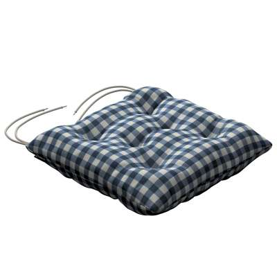 Jack seat pad with ties 136-01 navy blue and white check (1.5cm x 1.5cm) Collection Quadro