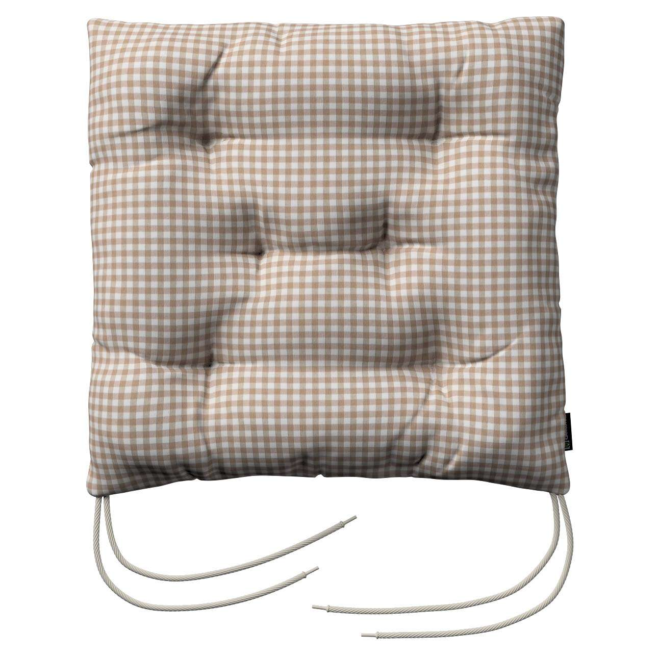 Jack seat pad with ties 40 × 40 × 8 cm (16 × 16 × 3 inch) in collection Quadro, fabric: 136-05