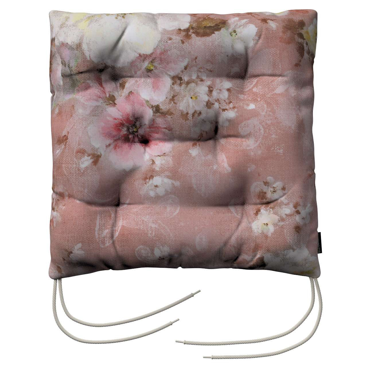 Jacek seat pad with ties 40 x 40 x 8 cm (16 x 16 x 3 inch) in collection Monet, fabric: 137-83