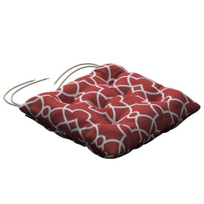 Jack seat pad with ties 142-21 white Moroccan style pattern on a red background Collection Gardenia