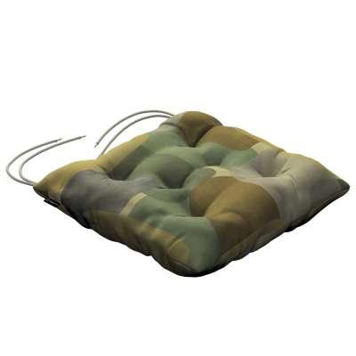 Siedzisko Jacek na krzesło 143-72 geometryczne wzory w zielono-brązowej kolorystyce Kolekcja Vintage 70's