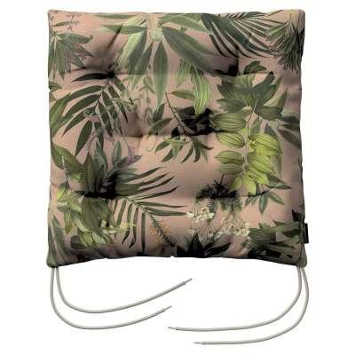 Siedzisko Jacek na krzesło 143-71 zielona roślinność na brudnoróżowym tle Kolekcja Tropical Island