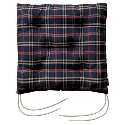 Jack seat pad with ties 142-68 dark blue and red check Collection Christmas