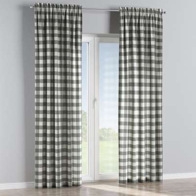 Slot and frill curtain 136-13 graphite grey and white check (5.5cm x 5.5cm) Collection Quadro