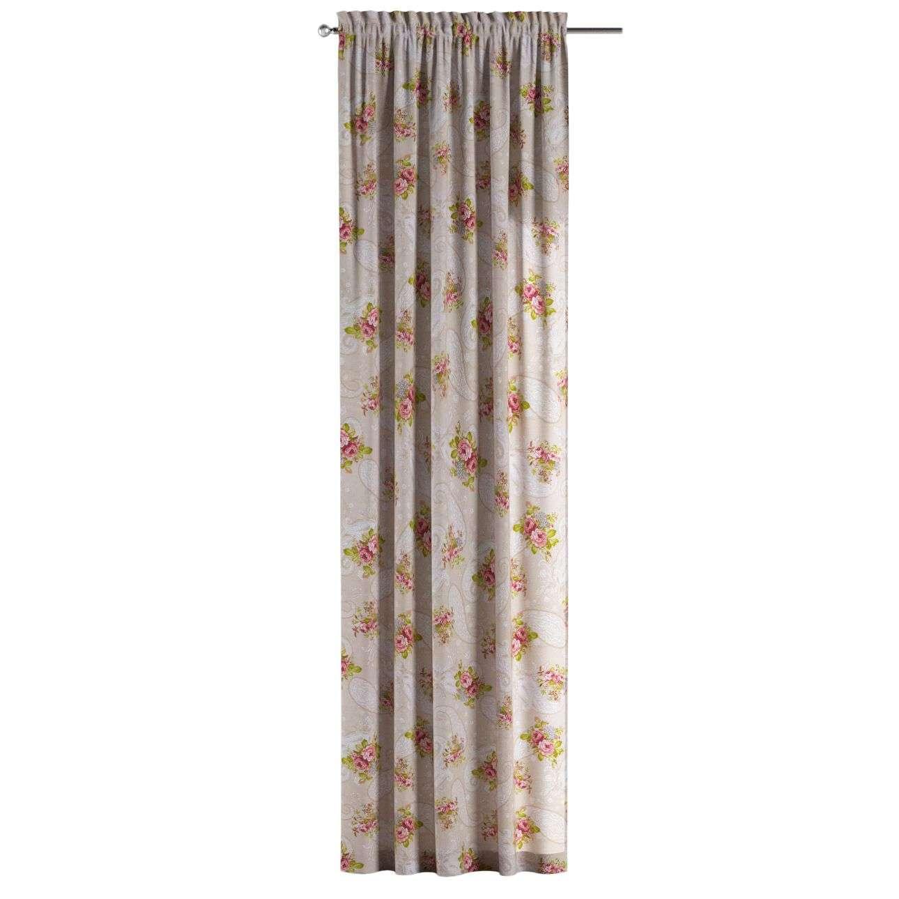 Gardin med kanal 1 längd 130 x 260 cm i kollektionen Flowers, Tyg: 311-15