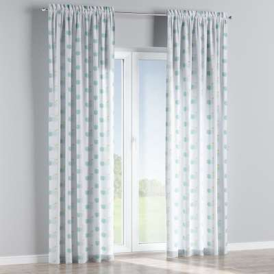 Slot and frill curtain 151-02 light green apples on white background Collection Little World