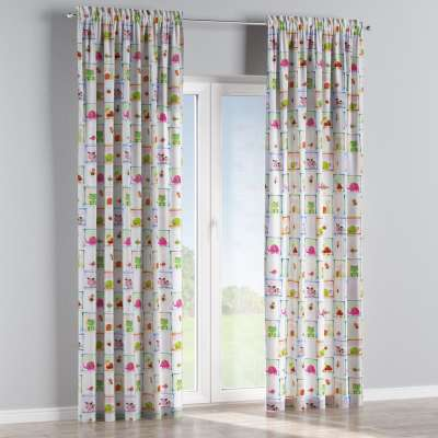 Slot and frill curtain 151-04 animal print on grey background Collection Little World