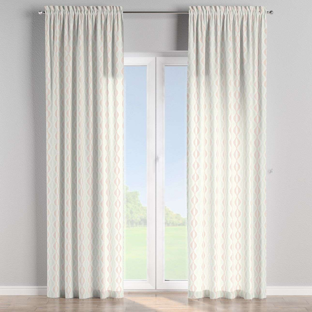 Slot and frill curtains in collection Geometric, fabric: 141-49