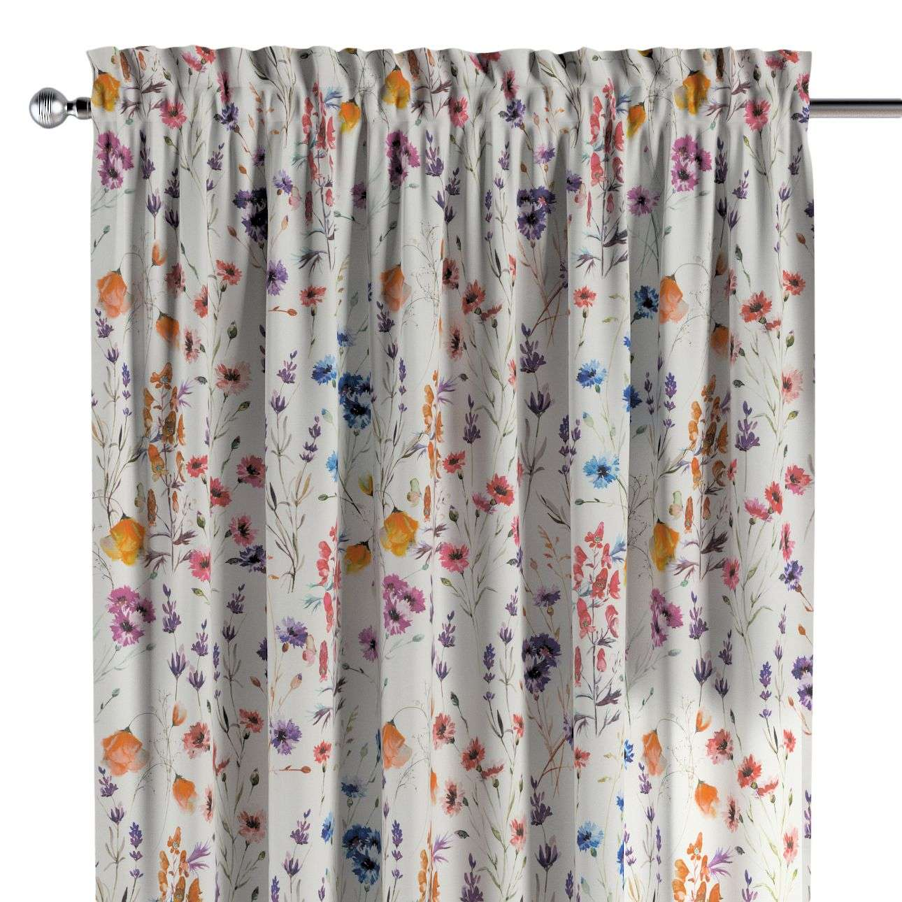 Slot and frill curtains 130 x 260 cm (51 x 102 inch) in collection Flowers, fabric: 141-53