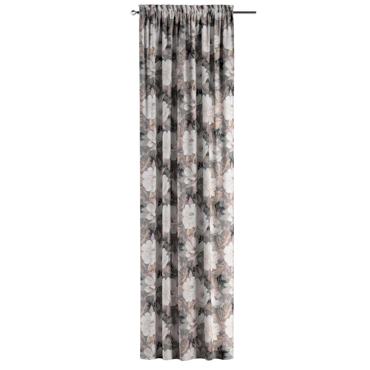 Gardin med kanal och rynkband för fingerkrokar - 1 längd i kollektionen Gardenia, Tyg: 142-13
