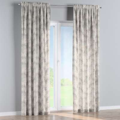Slot and frill curtain 142-14 cream and beige palm leaves print on a white background Collection Gardenia
