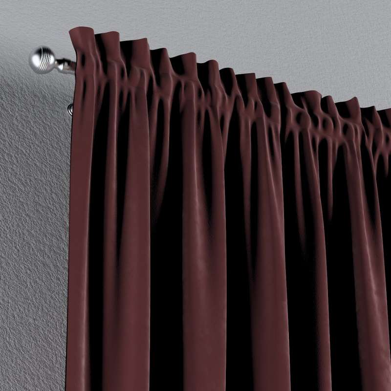 Zasłona na kanale z grzywką 1 szt. w kolekcji Velvet, tkanina: 704-26