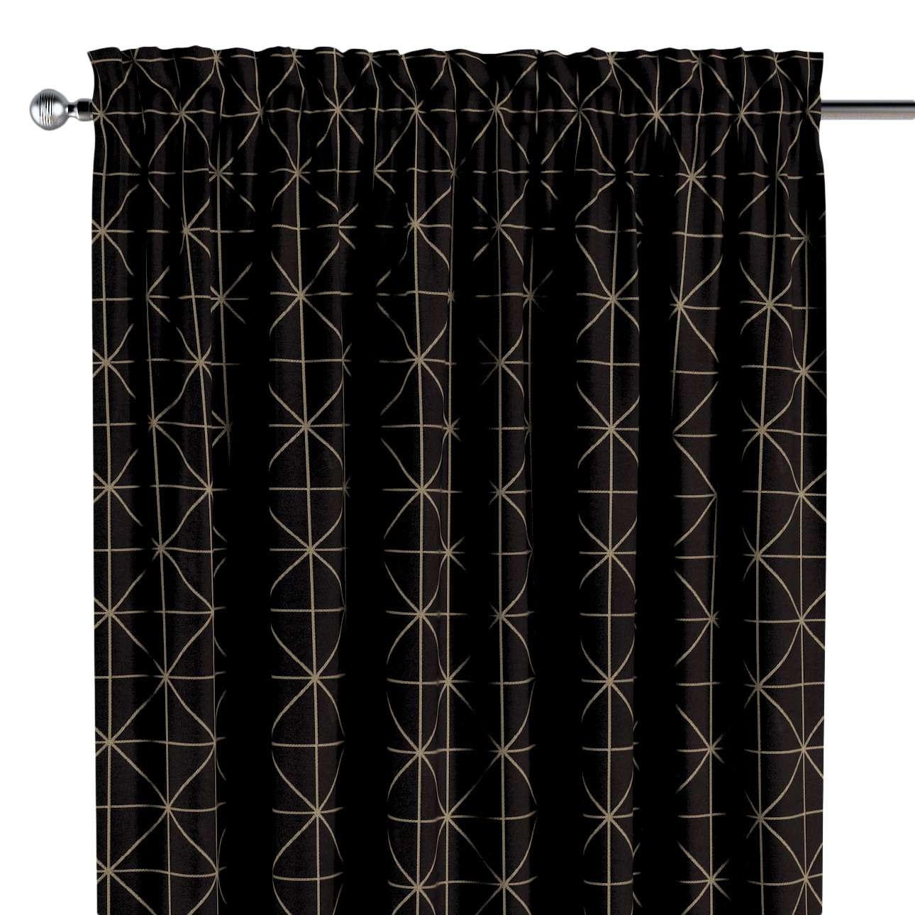 Závěs s tunýlkem a volánkem  v kolekci Black & White, látka: 142-55