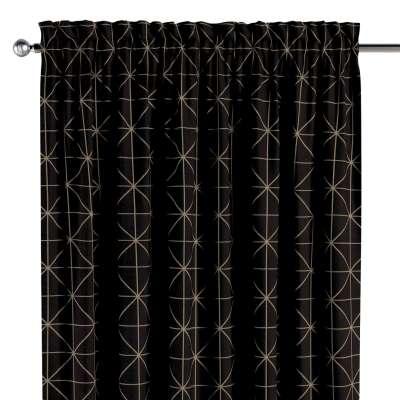 Vorhang mit Tunnel und Köpfchen von der Kollektion Black & White, Stoff: 142-55