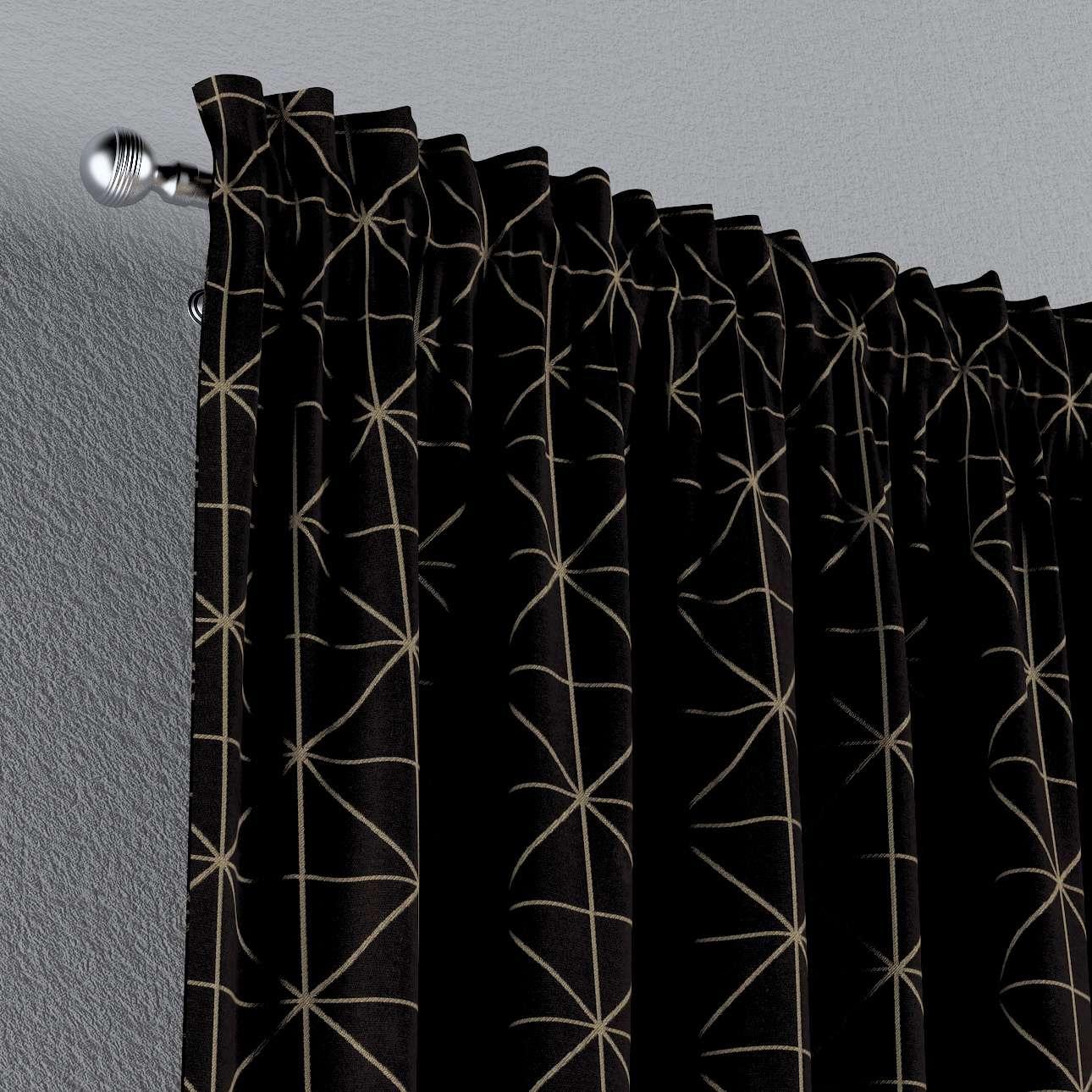 Zasłona na kanale z grzywką 1 szt. w kolekcji Black & White, tkanina: 142-55