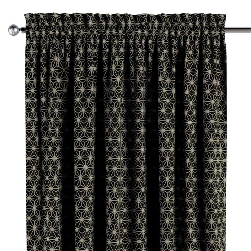 Zasłona na kanale z grzywką 1 szt. w kolekcji Black & White, tkanina: 142-56